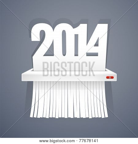 Paper 2014 is Cut into Shredder on Gray
