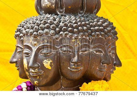 Multi Headed Metallic Buddha Staue