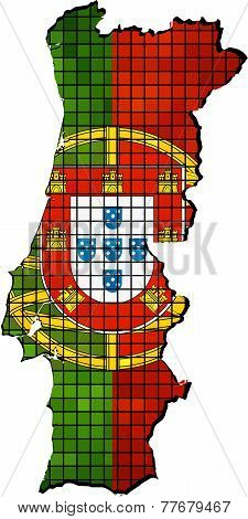 Vector of Portugal map with flag inside