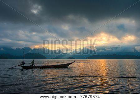 Fisherman On A Beautiful Mountain In The Morning