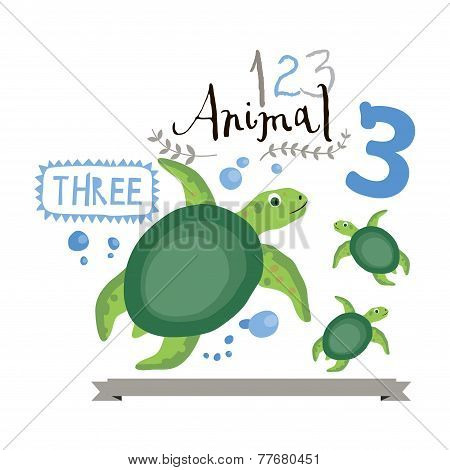 Children alphabet of animals and figures. Number three. Vector illustration