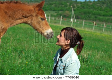 Foal and girl