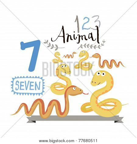 Children alphabet of animals and figures. Number seven. Vector illustration