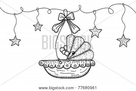 Hand Drawn Illustration with Hanging Cradle and Stars
