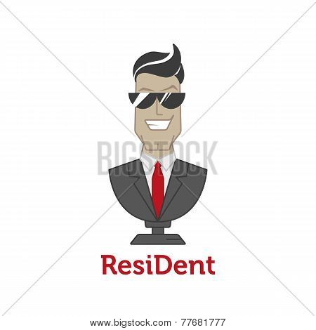 Vector cartoon mascot logotype for dental clinic