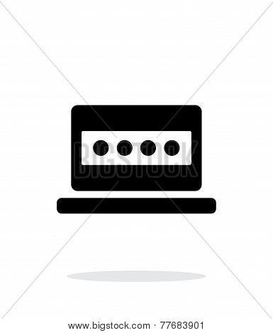 Password in laptop icon on white background.