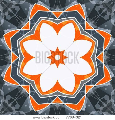 Mandala orange swadhisthana lotus flower symbol. Stylized chakra image