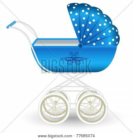 Stylish blue pram
