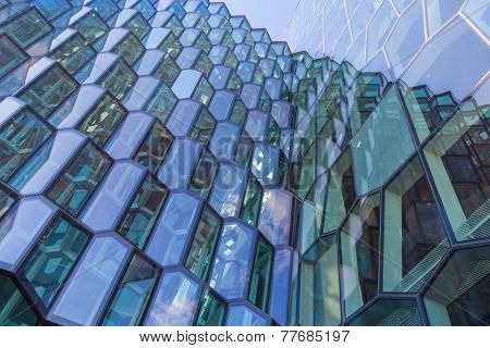 Modern Glass Facade Of The Harpa Concert Hall In Reykjavik