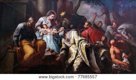 PRCANJ, MONTENEGRO - JUNE, 08: Nativity Scene, Adoration of the Magi, Catholic Church of the Birth of the Virgin Mary, on June 08, 2012, in Prcanj, Montenegro