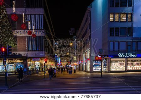 Shopping Street In The Center Of Stockholm