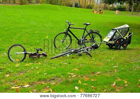 Bicycles at a picknic area