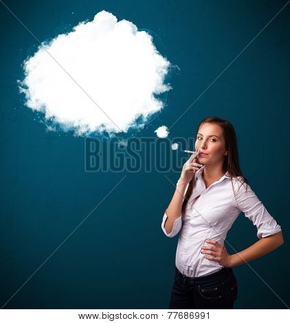 Pretty young woman smoking unhealthy cigarette with dense smoke