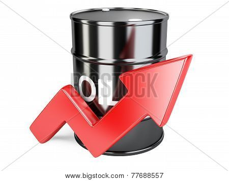 Oil Barrel Chart Graph With Red Arrow Up