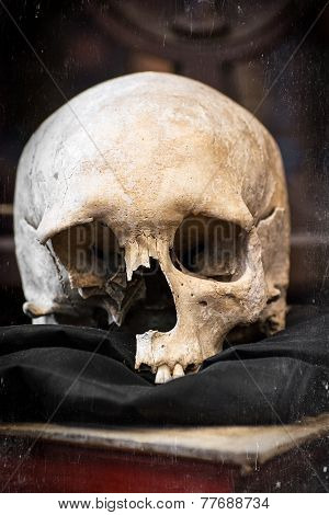 Damaged Human Skull And Old Book