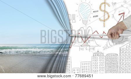 Hand Pulling Natural Sandy Beach Curtain Covered Business Chart Doodles