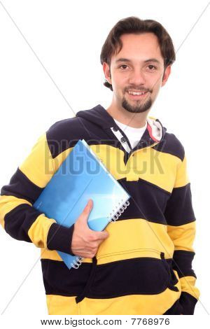 Casual Student With A Notebook