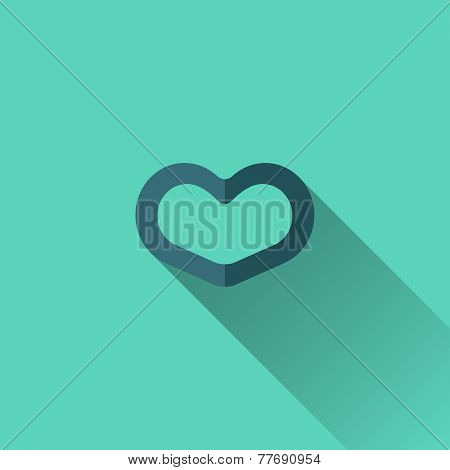 Blue Heart Icon. Flat Design