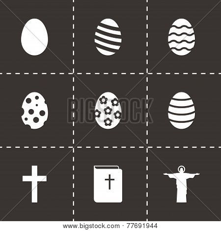Vector black easter icon set