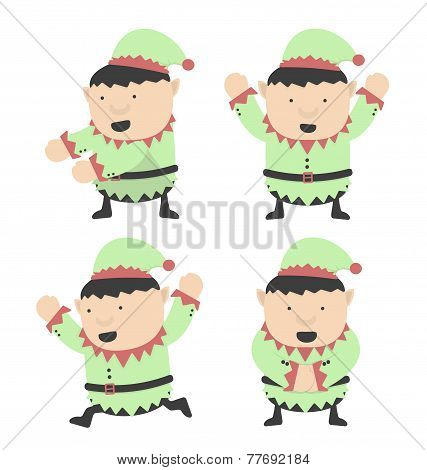 Christmas Elves Fat And Different Poses