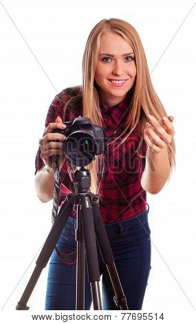 Glamour female photographer taking images