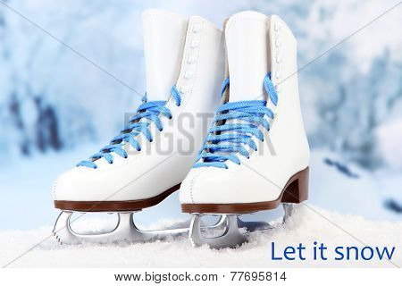 Let it snow greeting card with figure skates on it