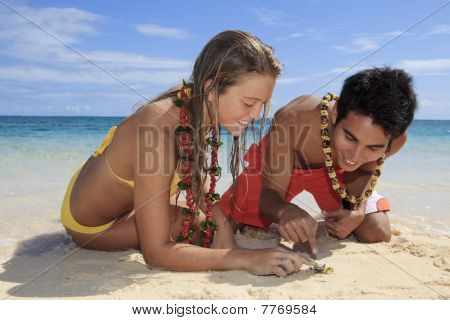 couple discover a small crab