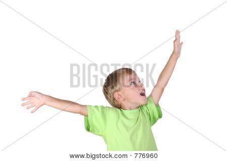 menino com a mão para o sucesso