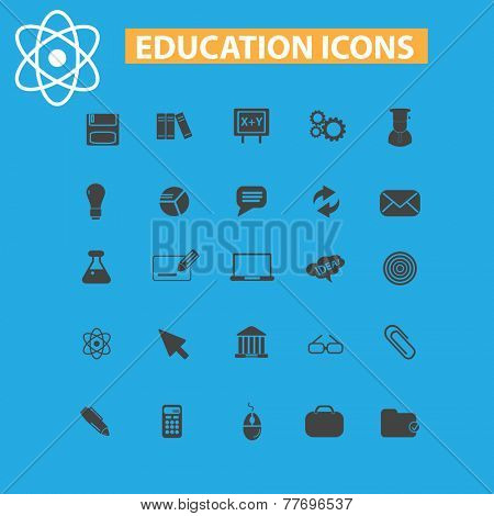 education, learning icons, signs set, vector