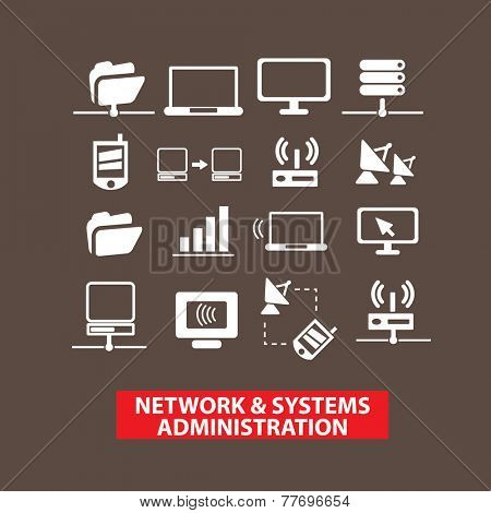 network, system, administration, system icons, signs set, vector