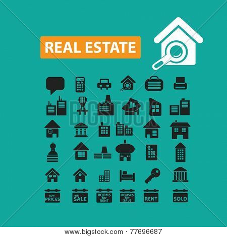 real estate, house, building icons, signs set, vector