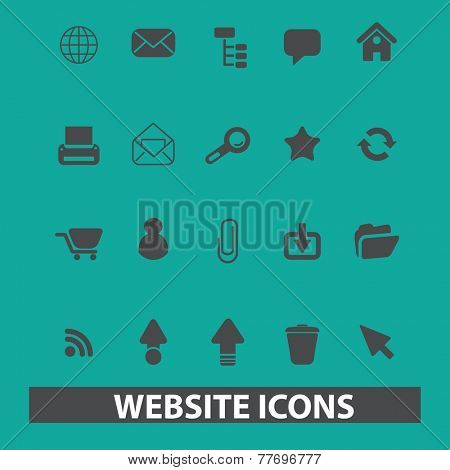 website, internet page, web icons, signs, silhouettes set, vector