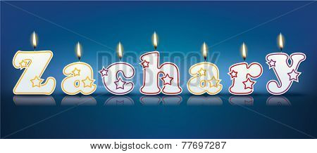 ZACHARY written with burning candles - vector illustration