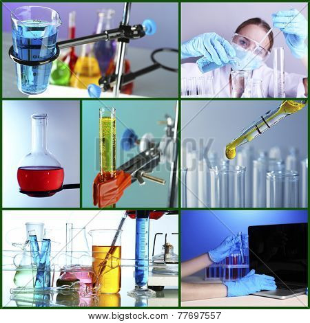 Chemistry concept. Lab Collage