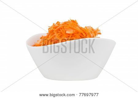 Grated Carrot With Pineapple In A White Bowl