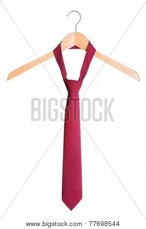 Stylish Men's Fashion Tie On A Hanger. On A White Background.