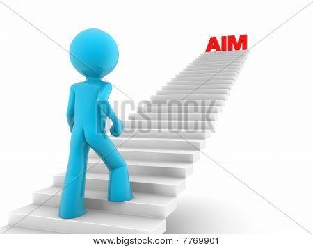walking upstairs to aim high