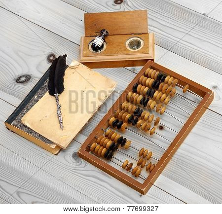 Abacus Accounting Wooden Vintage Pencil Ink Pot Book Office Set