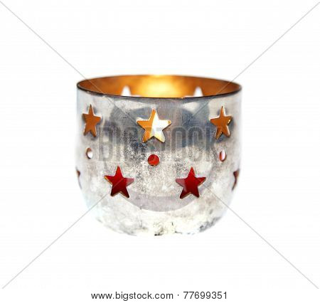 Chrismas Xmas Candles Silver Holder Cup Isolated Vintage Advent