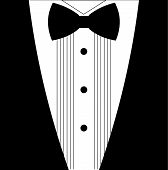 picture of bowing  - Flat black and white tuxedo bow tie illustration - JPG