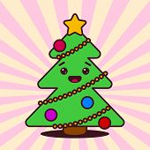 stock photo of kawaii  - Kawaii Christmas tree with smiling face - JPG