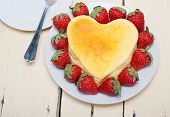 image of cheesecake  - heart shaped cheesecake with strawberryes ideal cake for valentine day - JPG