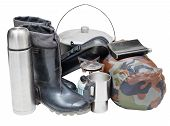 stock photo of sleeping bag  - set of camping belongings with gumboots pot thermos flask can sleeping bag gas burner isolated on white background - JPG