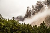 image of italian alps  - a mountain between the fog in the italian alps - JPG