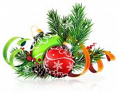 picture of winterberry  - Christmas baubles with ribbon and fir tree branches on white background - JPG