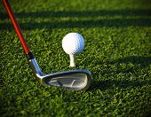 picture of manicured lawn  - Golf ball and driver on a golf course - JPG
