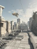 stock photo of fiction  - Science fiction illustration of a future city street with aerial traffic overhead - JPG