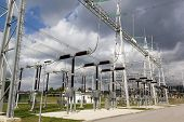 foto of power transmission lines  - Electricity substation with electrical power equipment.