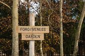 "stock photo of forgiveness  - ""Forgiveness Garden"" sign in spiritual retreat area - JPG"