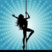 foto of pole dancer  - Silhouette of a sexy pole dancer on an abstract background - JPG